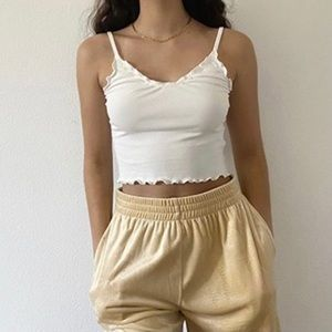 White Knit Cropped Cami